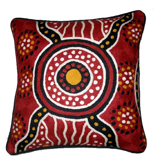 "Cushion Cover Chainstitch "" Bush Dreaming"" By Jane oliver_1"
