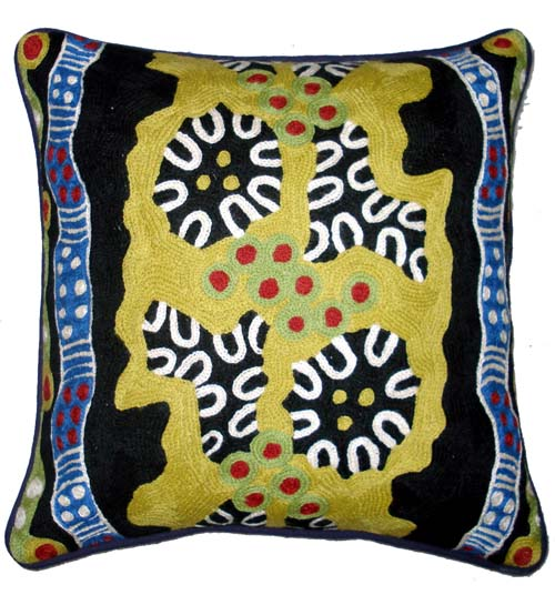 "Cushion Cover Chainstitch "" Bush Tracks"" By Jane oliver_2"