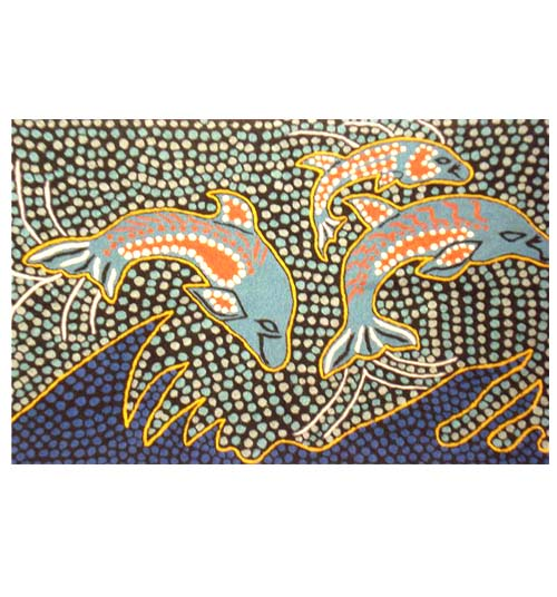 "Chainstitch Rug 6x4 feet ""Dolphins"" By Lisa o'Mara"