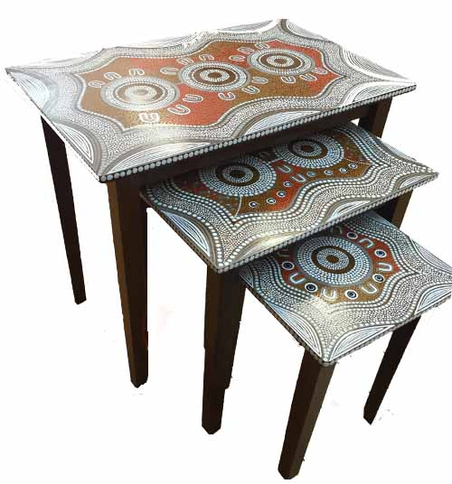 Pam Brandy Hall - 3 piece hand painted side table set